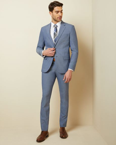 Slim fit two-tone chambray suit pant