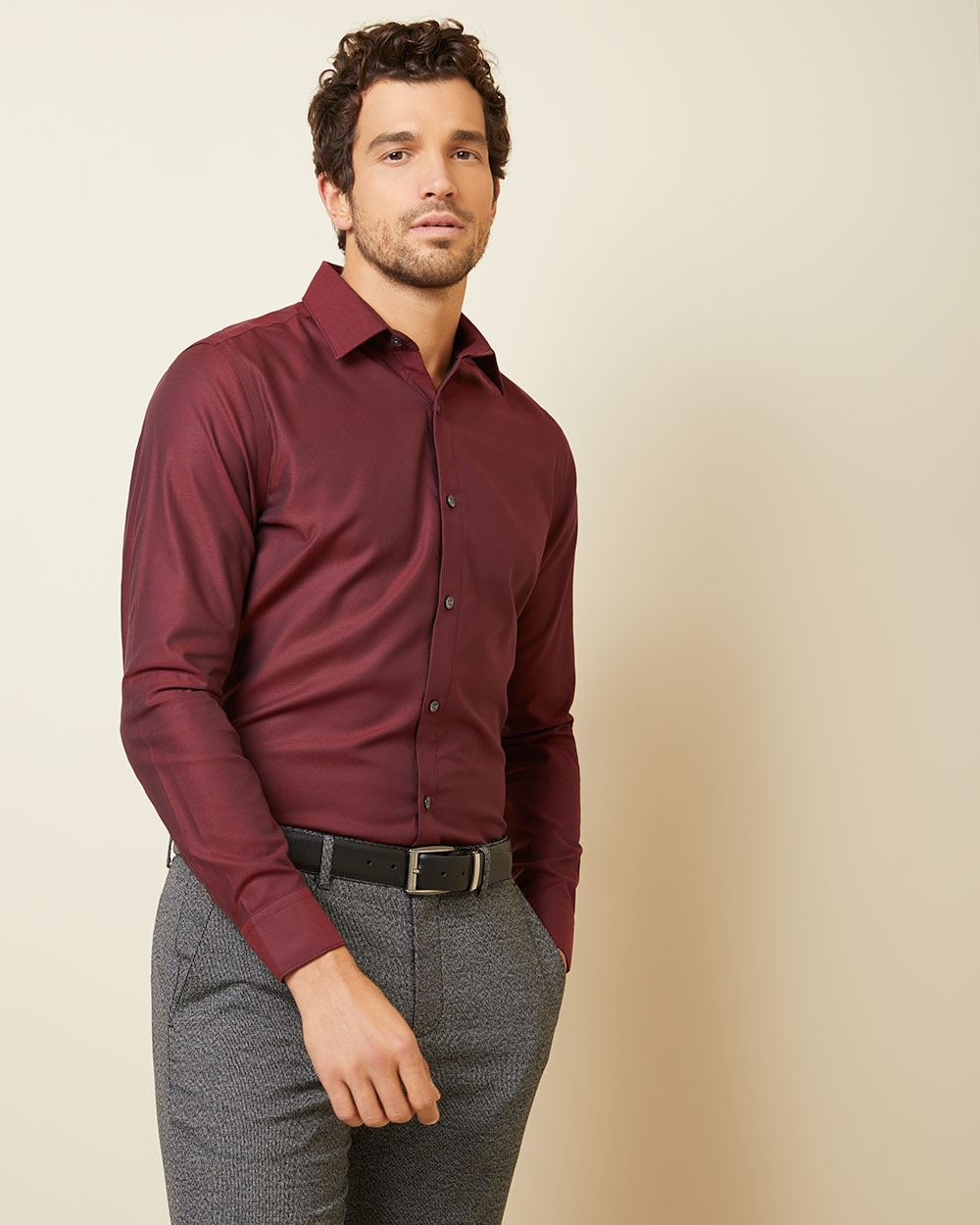 Tailored fit solid twill dress shirt