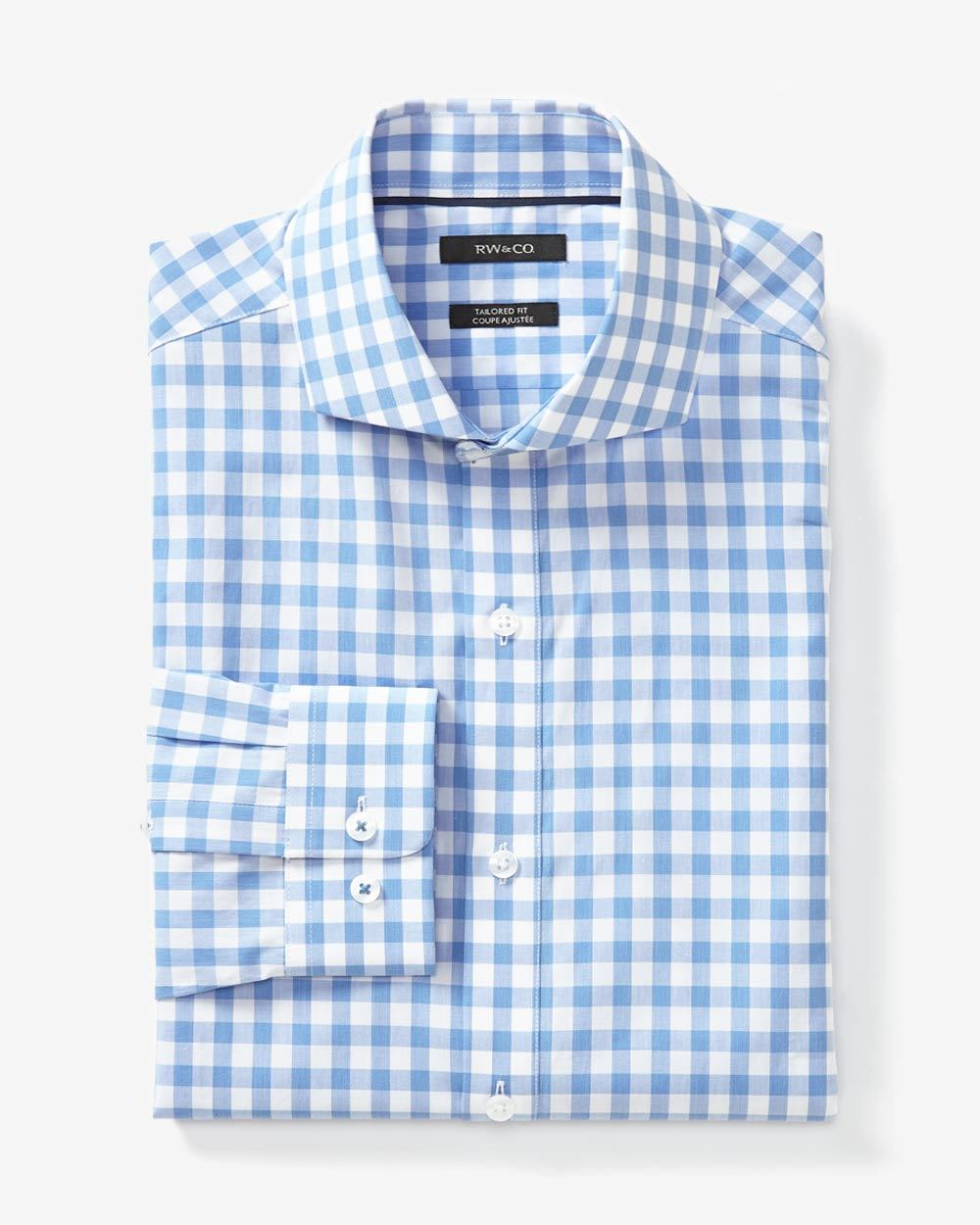 Tailored fit blue gingham dress shirt rw co for Tailoring a dress shirt