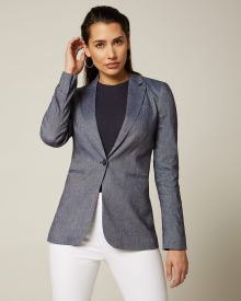Chambray linen-blend fitted blazer