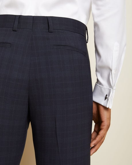 Tailored Fit Tonal Navy Check Wool Suit Pant
