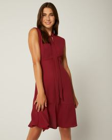 Sleeveless Fit and Flare Dress with Neck Tie
