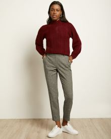 Black Tweed Signature Fit Slim Leg Ankle Pant
