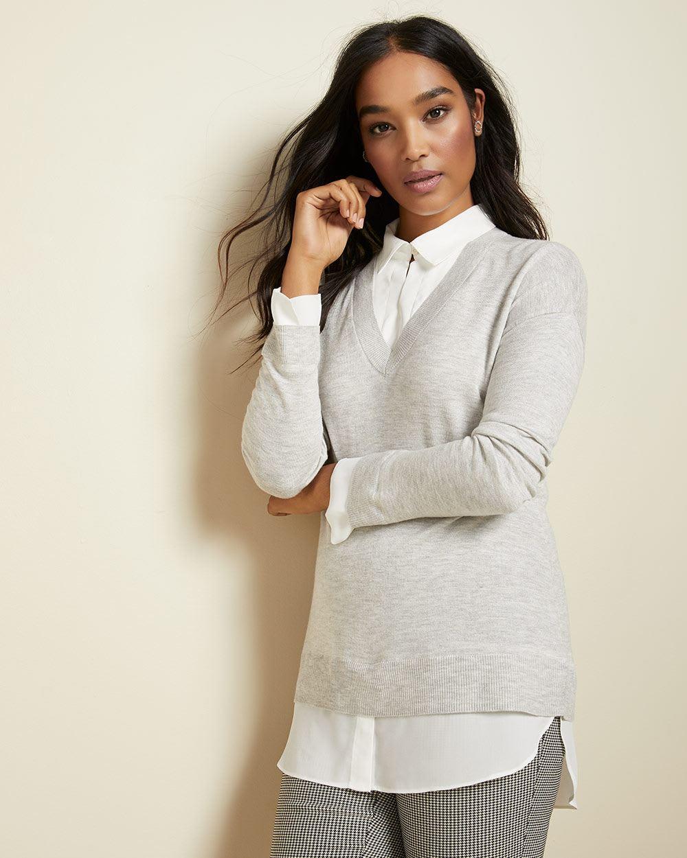 RW & Co. C&G 2-In-1 Mixed Media Tunic Sweater