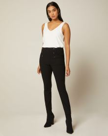 Double Button high-waist legging pant