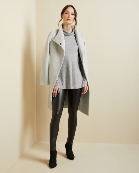 Long sleeve funnel-neck tunic t-shirt
