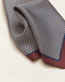 Blue and Beige Pattern Pocket Square With Raspberry Boarders