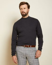 Mock-neck rib knit sweater