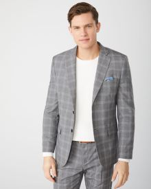 Tailored fit grey check suit blazer - Tall