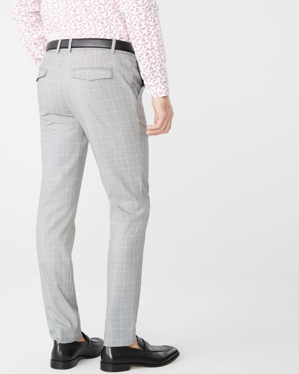 Slim fit beige windowpane City Pant - 30''