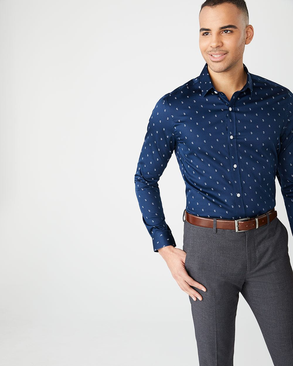 Athletic Fit navy paisley dress shirt