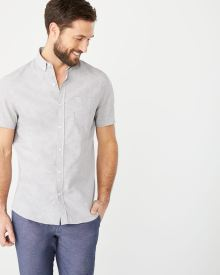 Tailored fit short sleeve linen-blend shirt