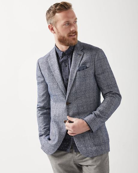 Slim fit textured check blazer