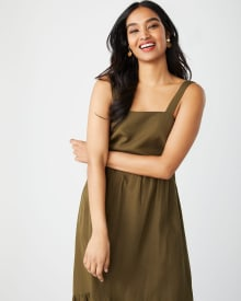 Fit and flare linen-blend midi dress