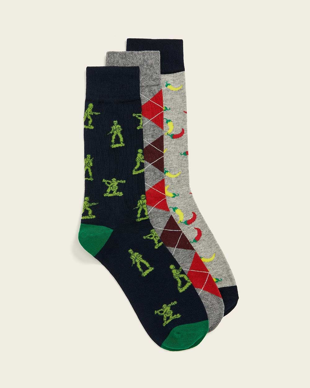 Hot Pepper Pattern Socks - 3 Pairs