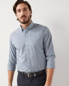 Tailored fit small plaid dress shirt