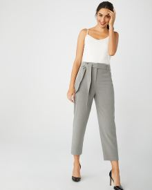 High-waist tapered leg pant with sash
