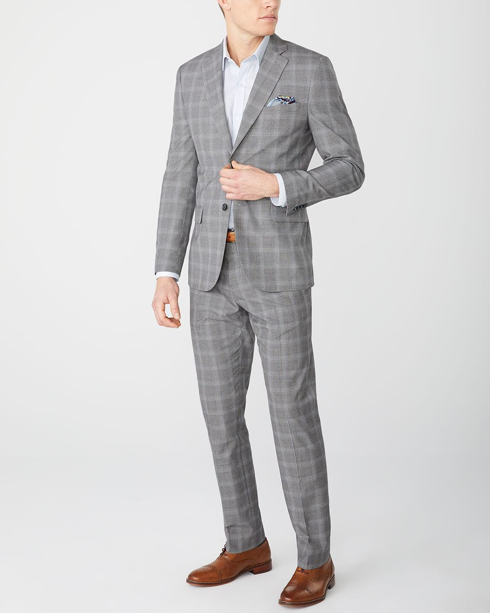 Tailored fit grey check suit pant