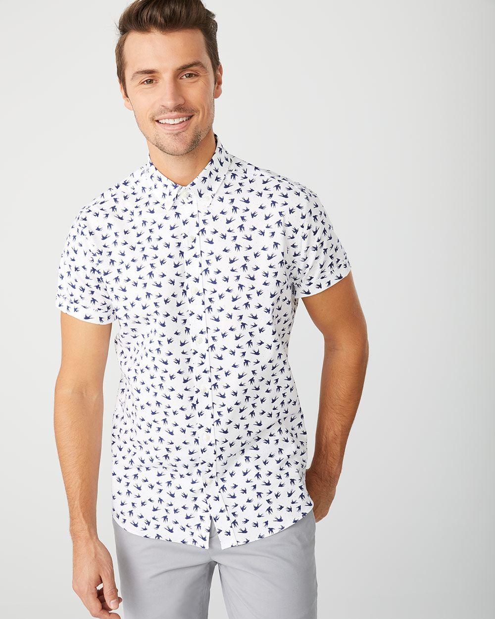 Slim Fit Short Sleeve printed stretch Oxford Shirt