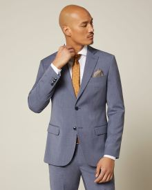 Slim fit blue wool and silk blend suit blazer