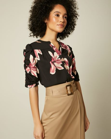 Short puffy sleeve button-down blouse