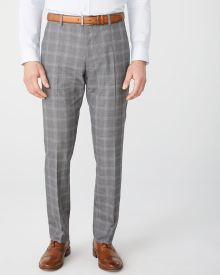 Tailored fit grey check suit pant - Short