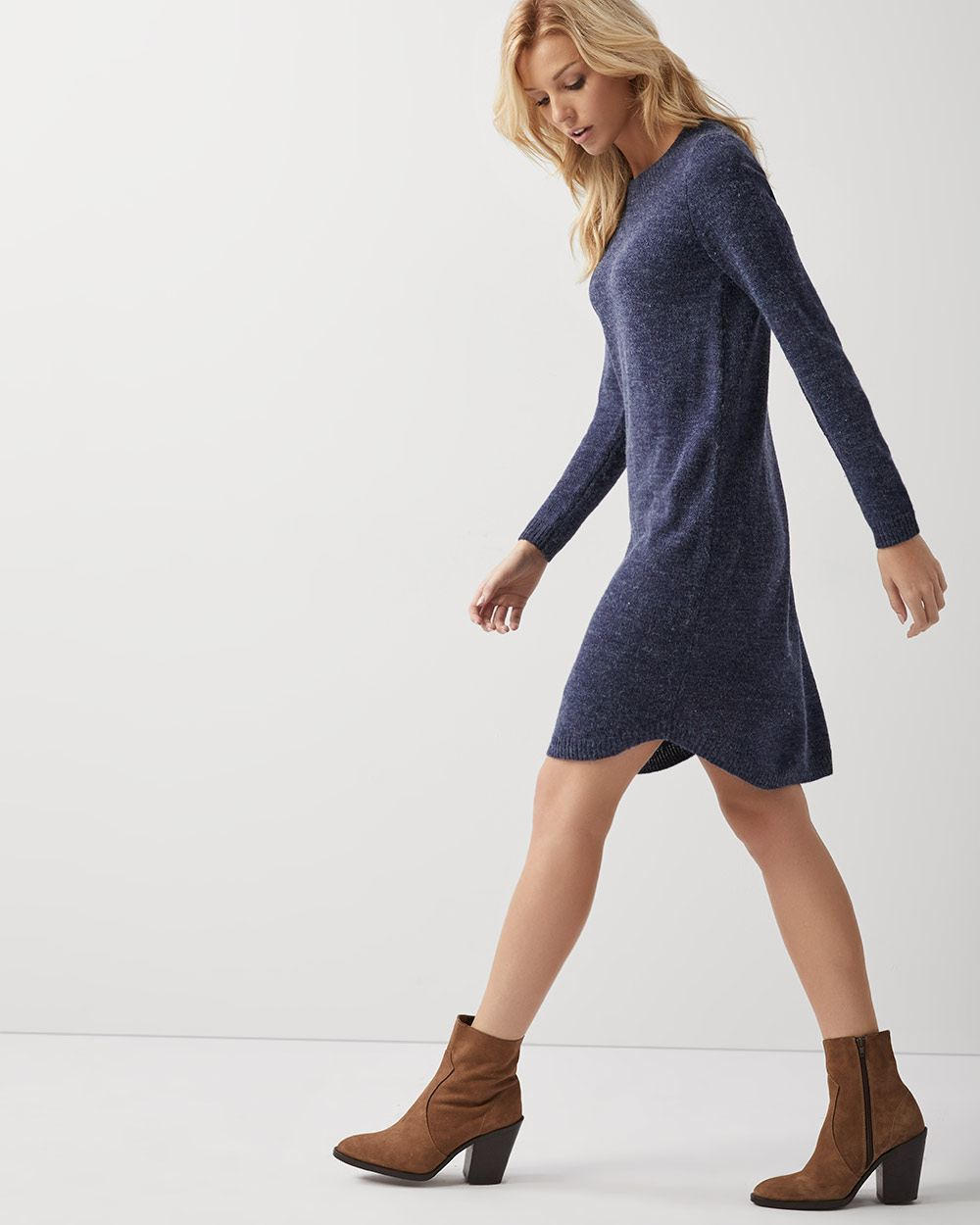 C&G Hairy knit fitted sweater dress