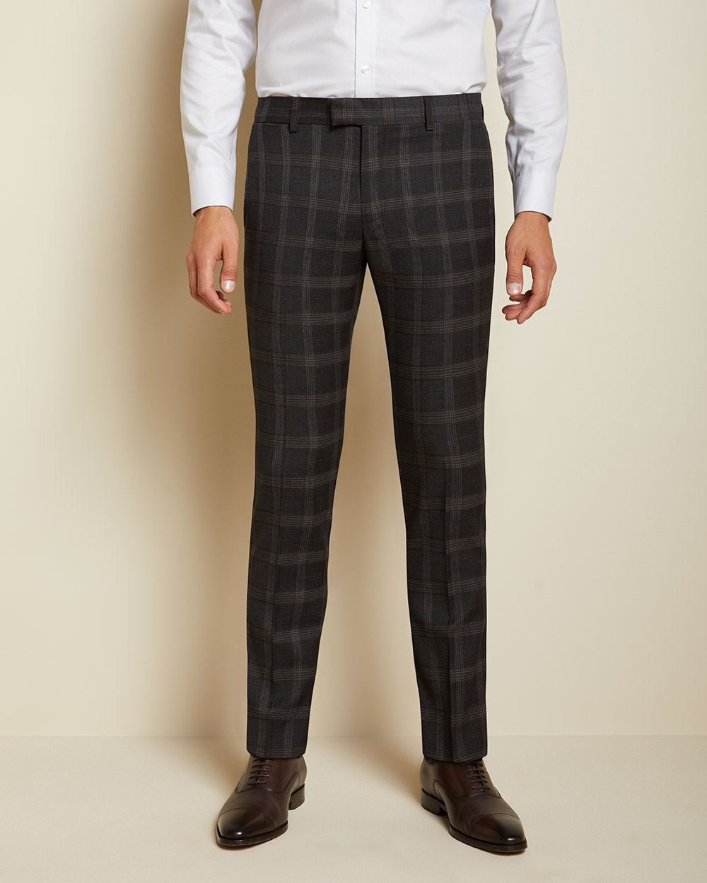 Slim Fit brown check suit pant