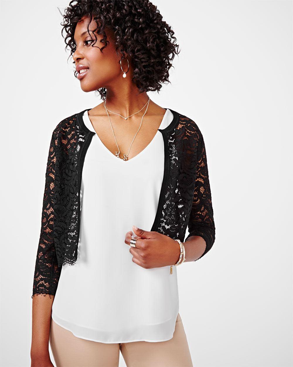 Cropped lace cardigan | RW&CO.
