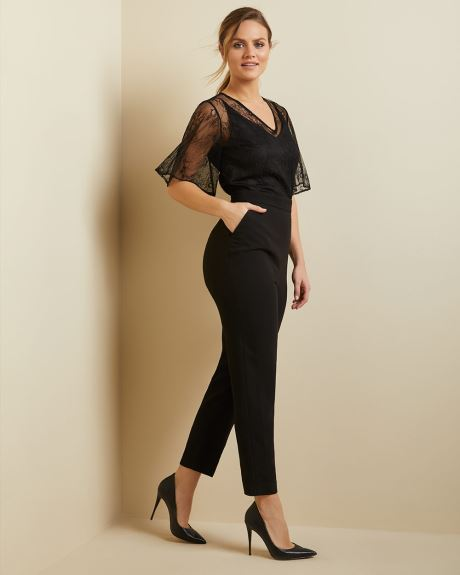 Crepe jumpsuit with lace overlay