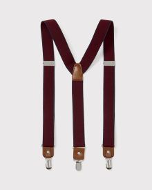 Burgundy dot elastic suspenders