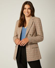 Loose fit faux Double-breasted Multicoloured plaid blazer