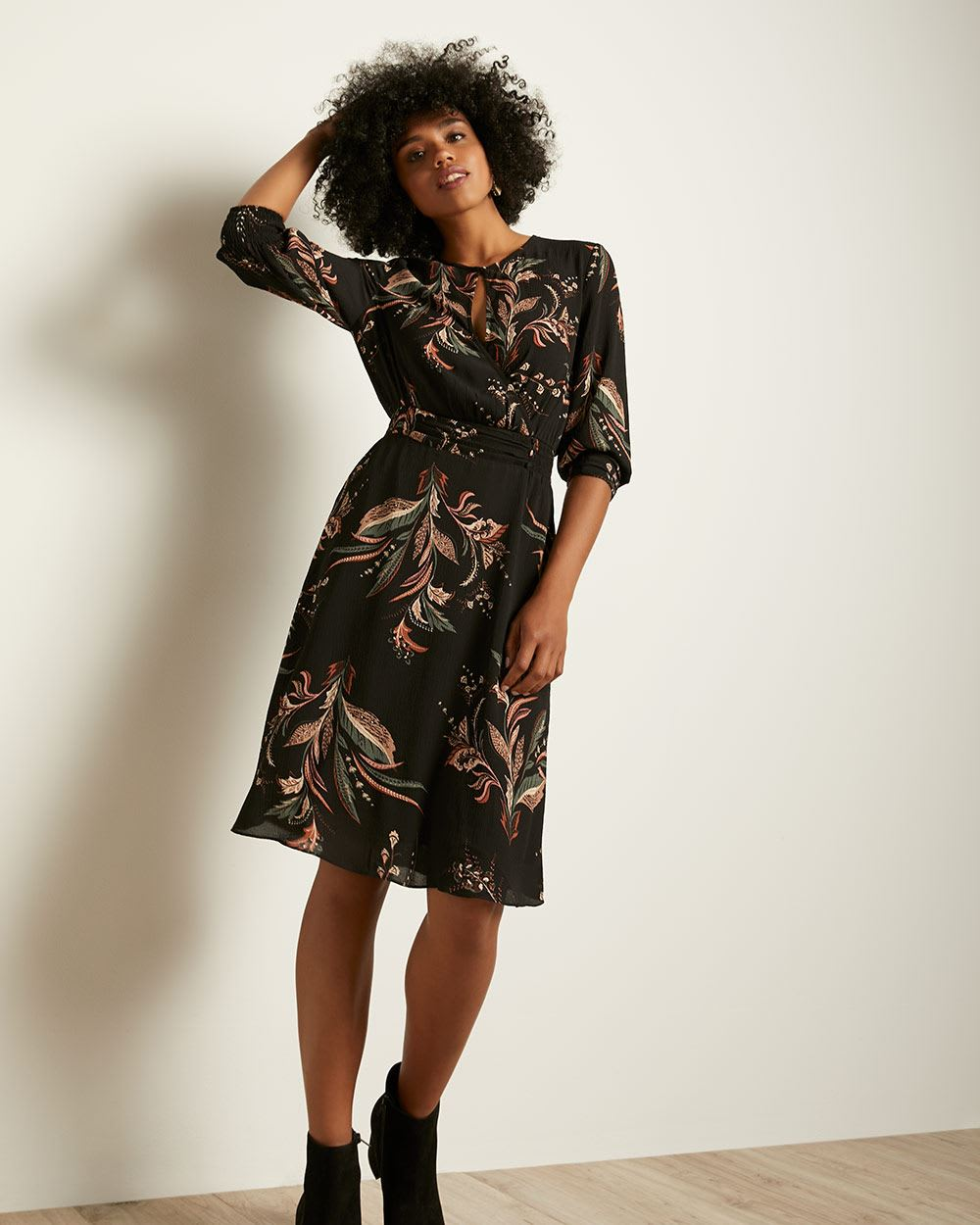 Printed Elbow-Length Sleeve Dress