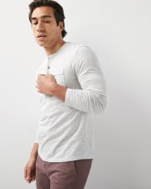 Long sleeve henley nep t-shirt with pocket