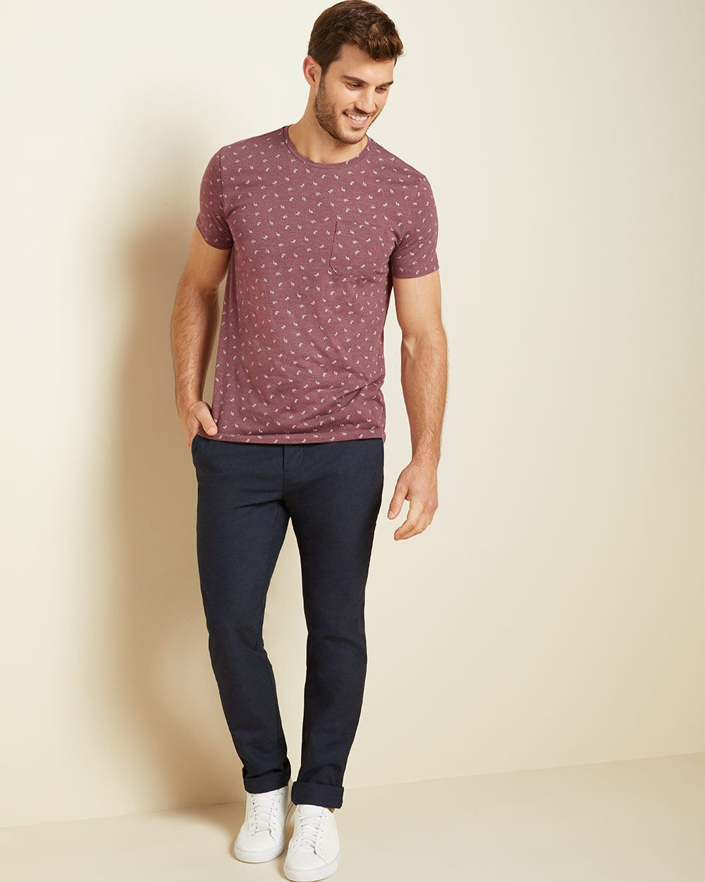 Printed Crew-neck t-shirt with pocket
