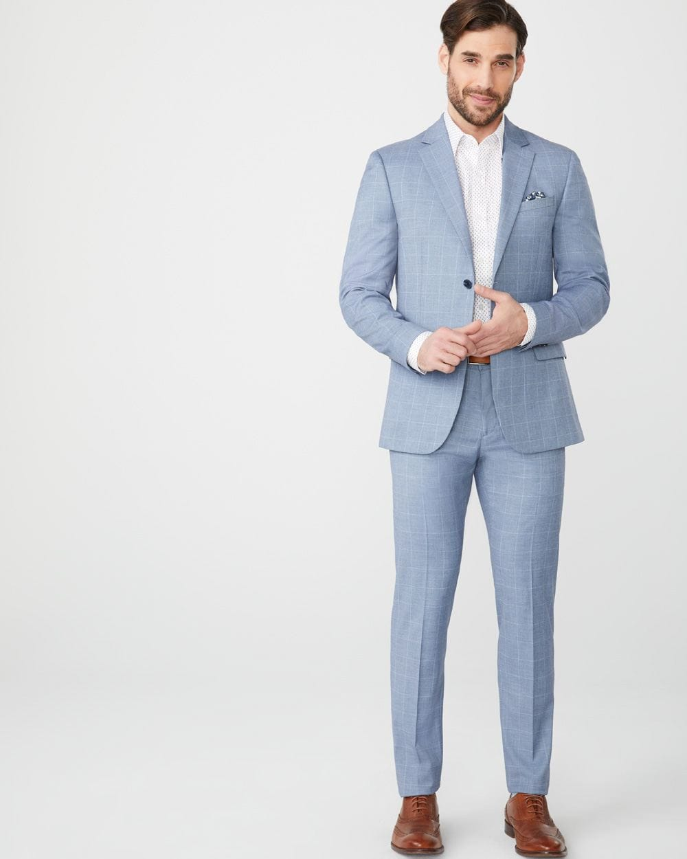 Slim fit light blue windowpane suit pant