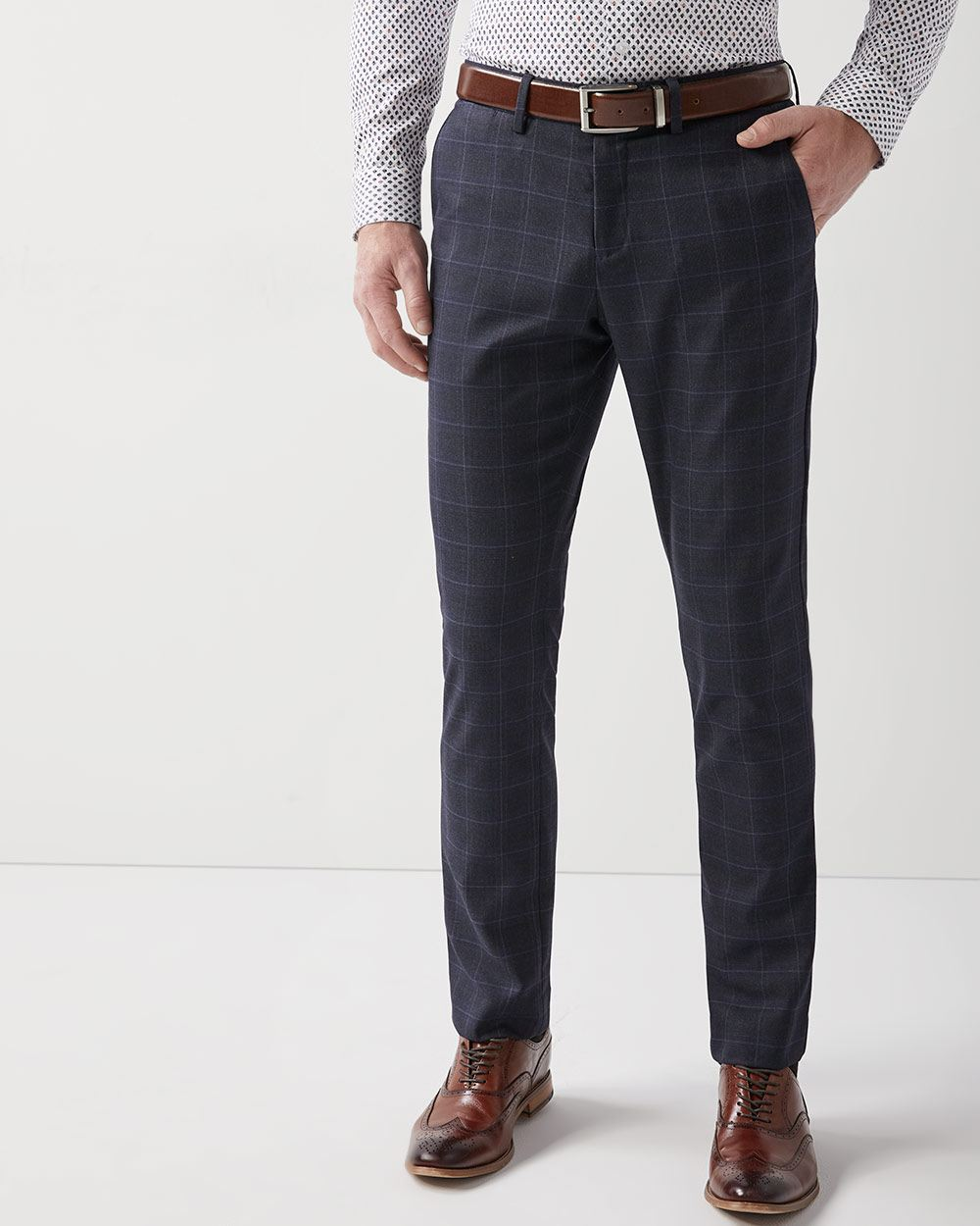 Slim fit navy grid check City Pant