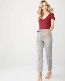 camel check belted high-waist pant