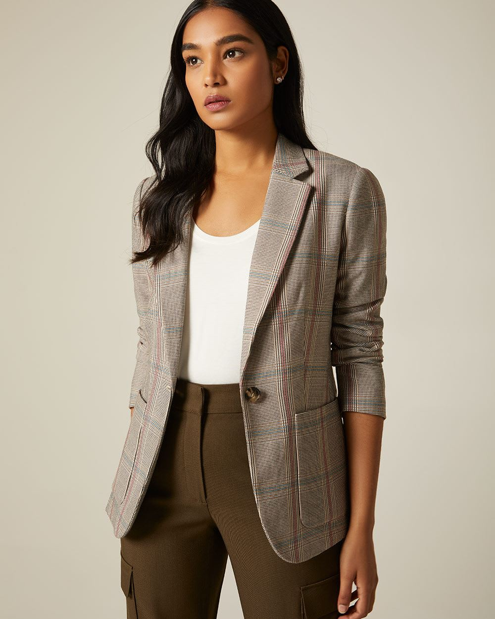 Long fitted Coral Plaid blazer