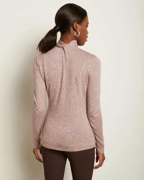 Long Sleeve Tied Mock-Neck T-Shirt