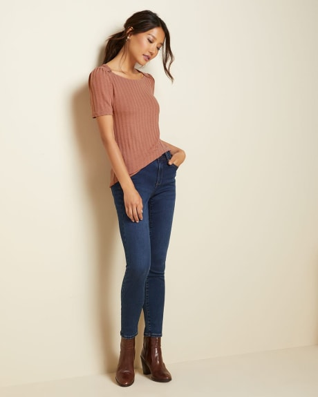 Buttoned Boat-neck pointelle t-shirt
