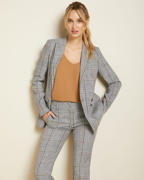 Plaid Double-breasted long Fitted blazer