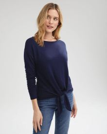 Long Sleeve French Terry Boat-Neck T-Shirt With Waist Tie
