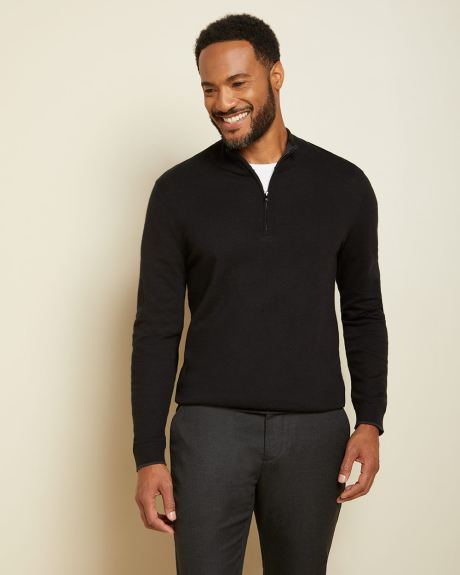 Jersey mock-neck sweater