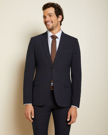 Slim fit Camel check suit blazer