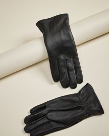 Black leather gloves with pin-tuck