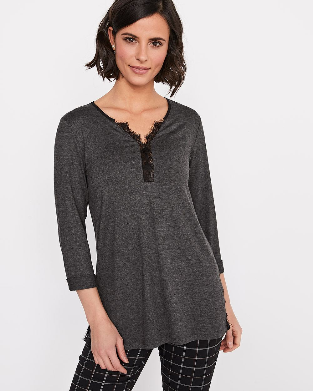 3 4 sleeve henley t shirt with lace rw co for 3 4 henley shirt