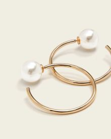 Pearl Back Hoop Earrings