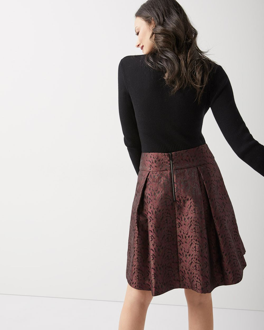 Two-tone jacquard flared skirt