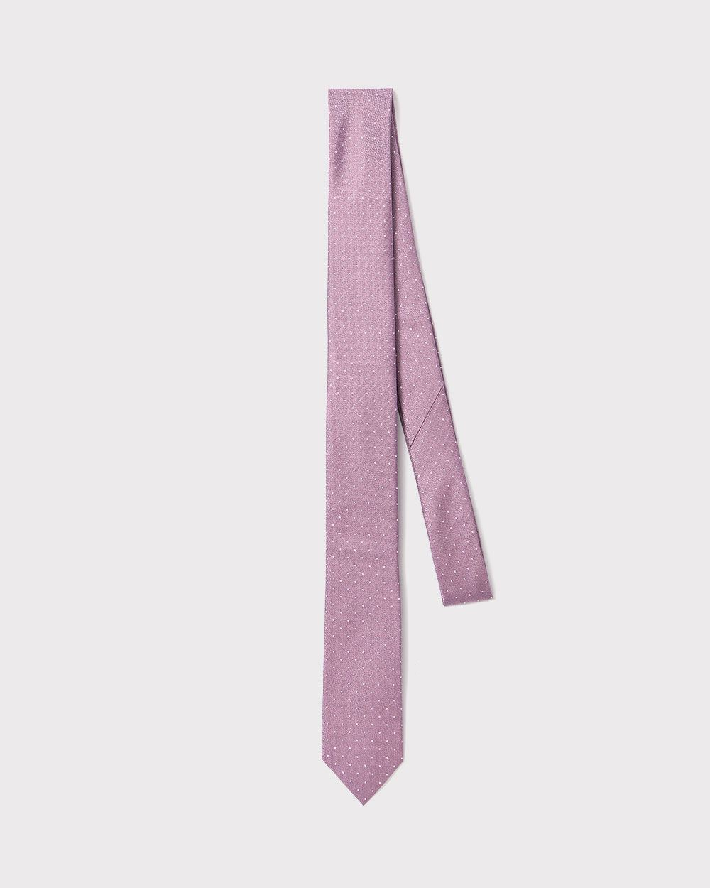 Skinny dotted pink tie